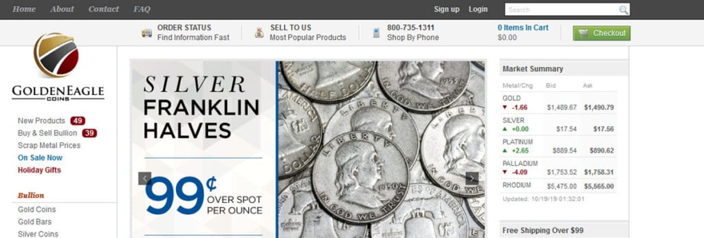 Golden Eagle Coins Homepage
