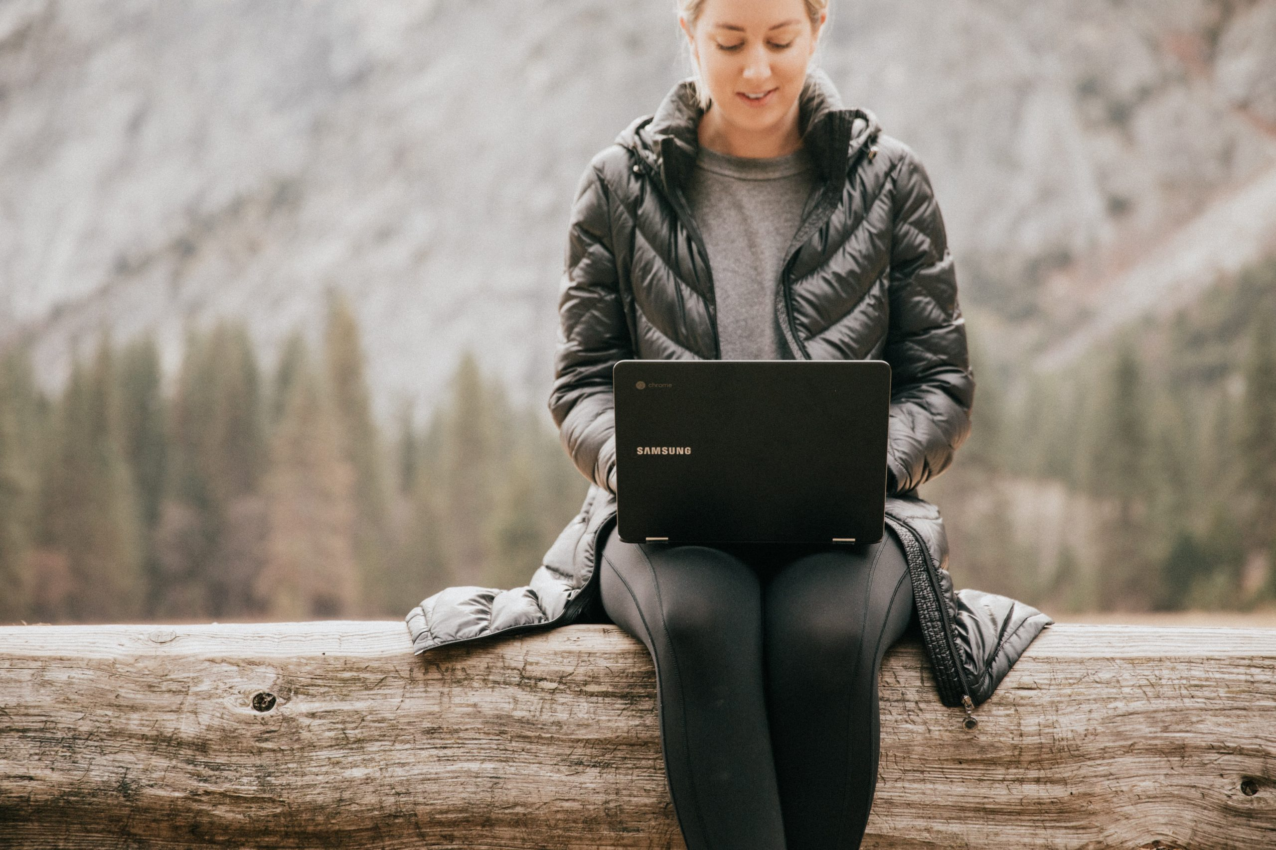 laptop on woman lap